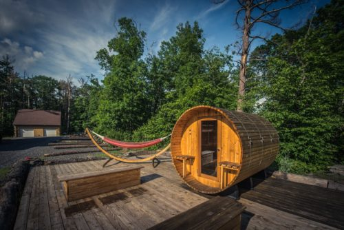 The steam sauna has a sunbathing deck and hammock