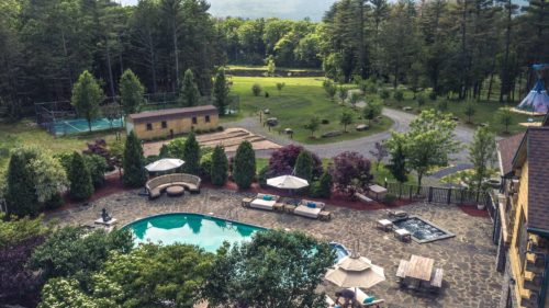 Aerial view of pool club and sports club areas