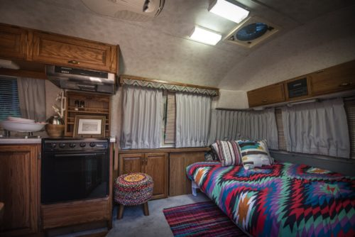 Airstream has heating/air con, fridge and cooking facilities