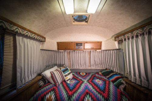 Airstream has sleeping arrangements for four people